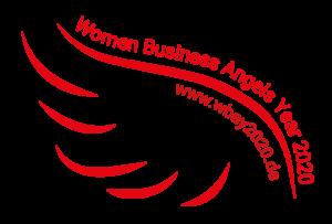 """Das Bild zeigt das Logo der Women Business Angels. Es besteht aus einem rotem Flügel und dem Schriftzug """"Women Business Angels Year 2020""""."""